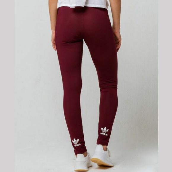 newest ee3b2 33394 Adidas Burgundy Legging